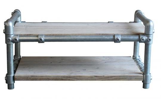 Schuhregal 2-lagig aus Gerüstholz